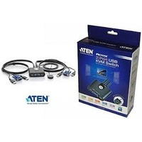 ATEN PETITE 2 PORT USB VGA KVM SWITCH WITH REMOTE PORT SELECTOR - 0.9M CABLES BUILT IN